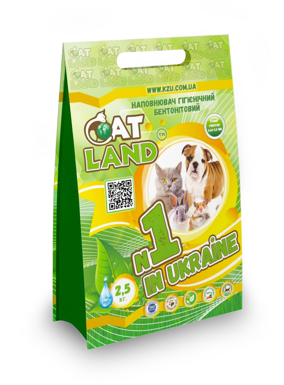 """PrJSC """"Weighting Agents Plant"""" – new package design for hygienic bentonite cat litter for domestic animals ТМ «Cat Land» 2,5kg and 5kg."""